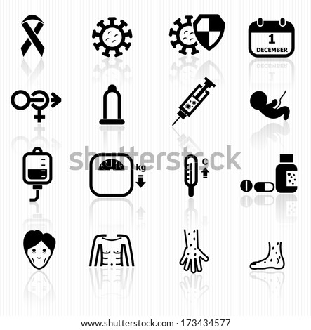 Aids icons - stock vector