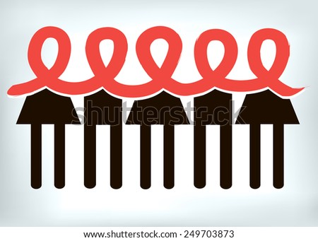 aids vector ribbon red people girl boy - stock vector