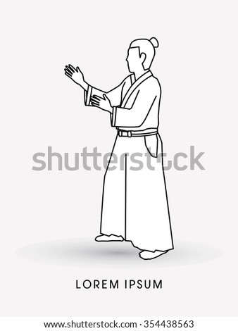 Aikido pose ready to fight  outline graphic vector - stock vector