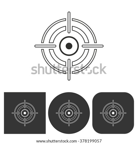Aim  icon  on  black and white background. Vector illustration. - stock vector