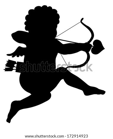 Aiming cupid vector silhouette - stock vector
