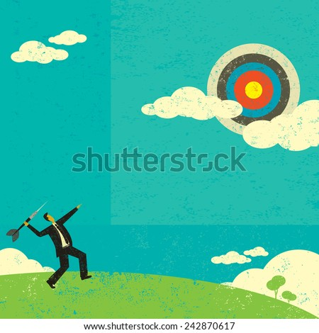 Aiming for a high target Businessman trying to hit a high target with a large dart to achieve his goal. The man is on a separate labeled layer from the background.  - stock vector