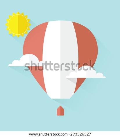 air balloon in sky - stock vector