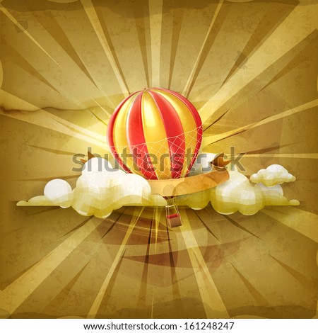 Air balloon, old style vector background - stock vector