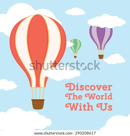 Air balloons in the sky. Template for your presentations. Vector illustration. - stock vector