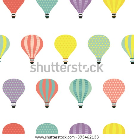 Air balloons. Seamless pattern with cute air balloons.  All elements are  hidden under mask. Pattern are not cropped and can be edited. Cute vector illustration. Vacation, holiday, travel. - stock vector