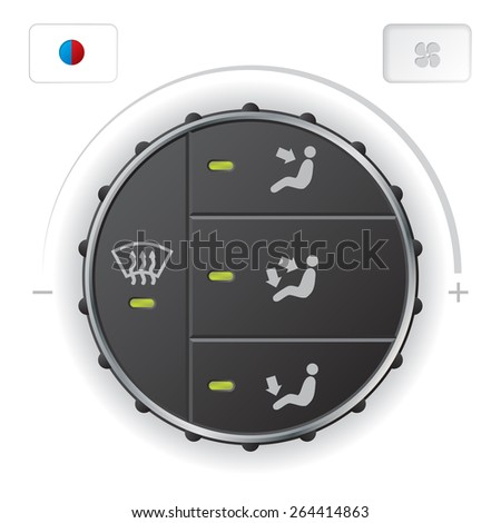 Air condition air circulation control deck with separate buttons for heat and fan - stock vector