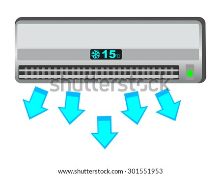 air conditioner, fresh air from airconditioning system illustration  - stock vector