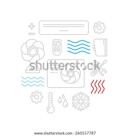 air conditioners cool fun climate element icons lines design set - stock vector