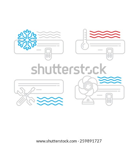 air conditioners cool fun climate element icons set  - stock vector