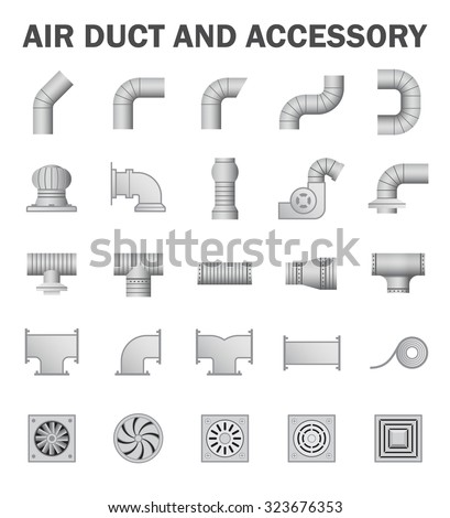 Air duct and accessory isolated on white background. - stock vector