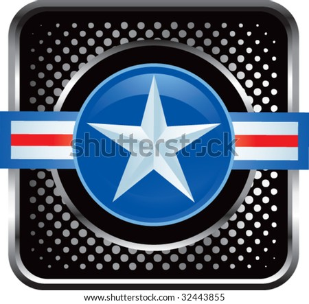 air force icon on black halftone web button - stock vector