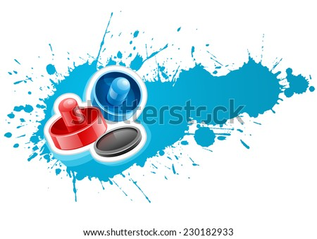 Air hockey mallets and puck for playing game over paint splash with blot drops. Eps10 vector illustration. Isolated on white background - stock vector
