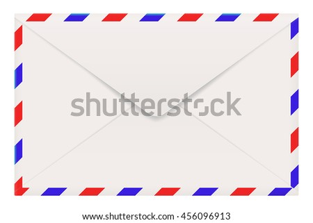 Air mail envelope backside. Vector illustration isolated on white background - stock vector