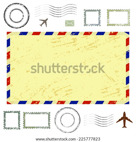 Air mail envelope, postal stamps and postmarks set, isolated on white background, vector illustration. - stock vector