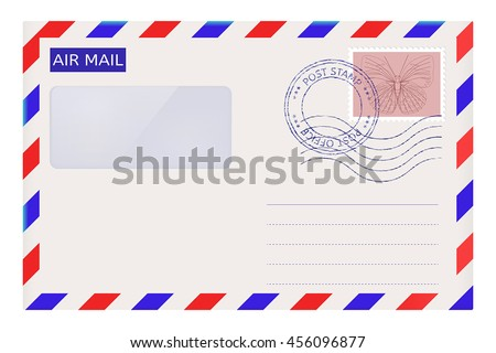 Air mail envelope with post stamps. Vector illustration isolated on white background - stock vector