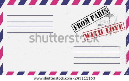 Air mail envelope with postal stamp - stock vector