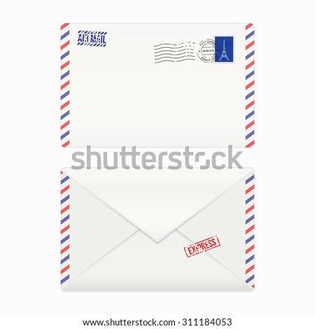 Air mail envelope with postal stamp, isolated, vector illustration - stock vector