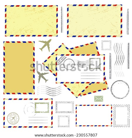 Air mail envelopes, postal stamps and postmarks set, isolated on white background, vector illustration. - stock vector