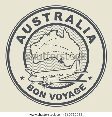 Air mail or travel stamp, Australia theme, vector illustration - stock vector
