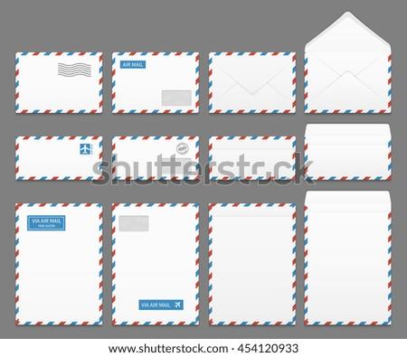 Air mail paper letter envelopes vector set. Blank envelope for airmail, illustration of correspondence envelopes - stock vector