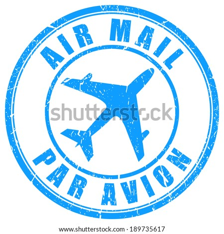 Air mail stamp - stock vector