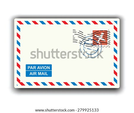 air mail with stamp and postmark  - stock vector