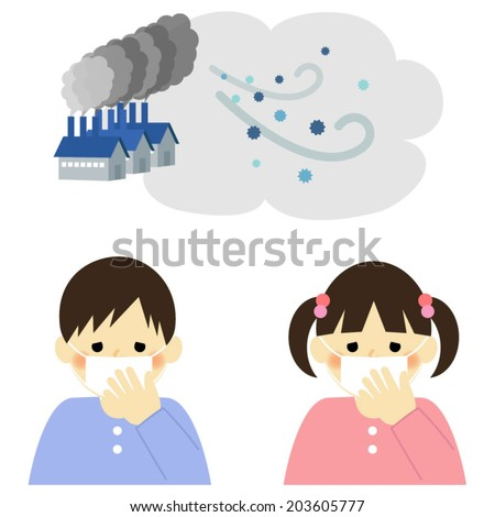 Air Pollution, boy and girl / Vector EPS 10 illustration - stock vector
