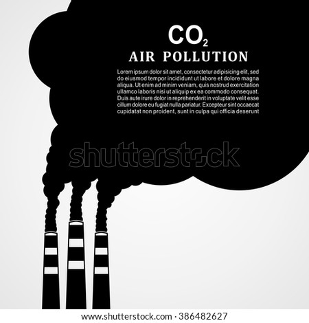Air pollution. Factory or power plant emitting smoke. Smoking factory concept in Flat style. Vector illustration - stock vector