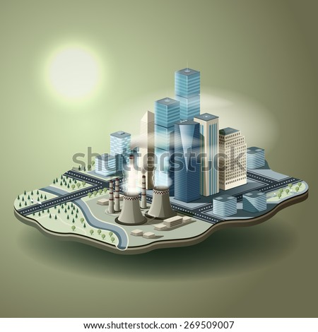Air pollution in big city. Vector isometric illustration of environmental pollution concept. - stock vector