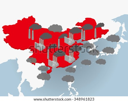 Air pollution in China, image illustration - stock vector