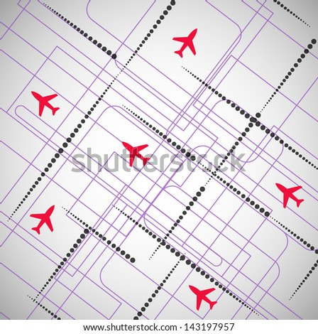 Air roads aircraft - stock vector