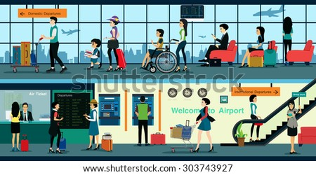 Air ticket office in the airport with the public to use the service. - stock vector