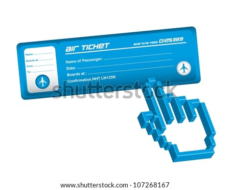 air ticket with hand cursor over white background. vector - stock vector