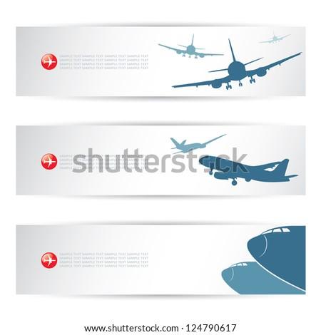 Air traffic headers - vector illustration - stock vector