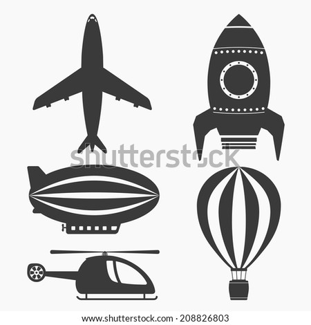 Air transport icons set, helicopter, airplane, hot air balloon, airship and rocket, vector eps10 illustration - stock vector