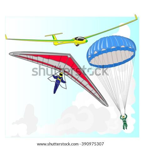 air transportation items vector set  - stock vector