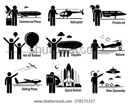 Air Transportation Vehicles and People Set - stock vector