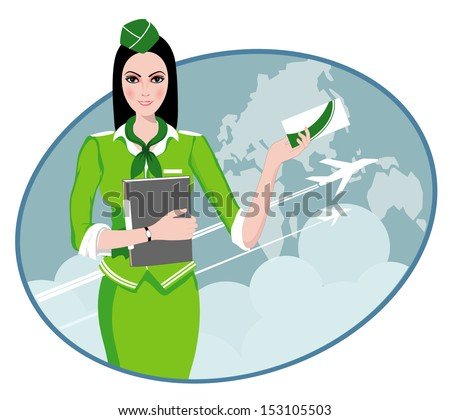Air Travel: Air hostess holding ticket to the flight, presenting her company's services  - stock vector