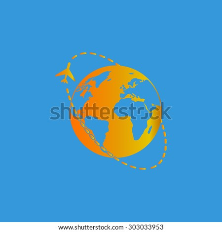 Air travel destination. Flat web icon or sign isolated on grey background. Collection modern trend concept design style vector illustration symbol - stock vector