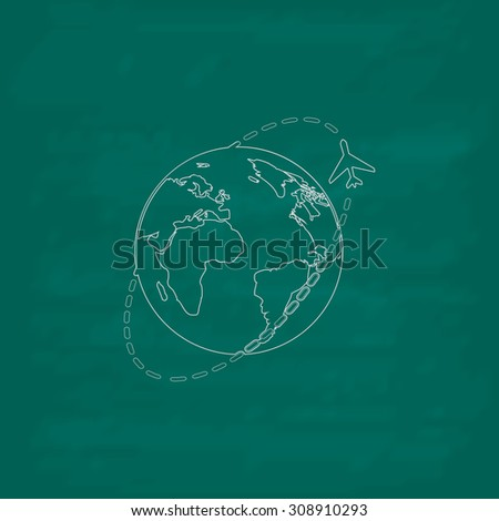 Air travel destination. Outline vector icon. Imitation draw with white chalk on green chalkboard. Flat Pictogram and School board background. Illustration symbol - stock vector