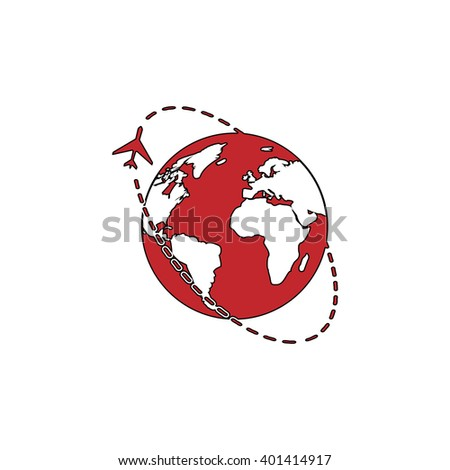 Air travel destination. Red flat simple modern illustration icon with stroke. Collection concept vector pictogram for infographic project and logo - stock vector