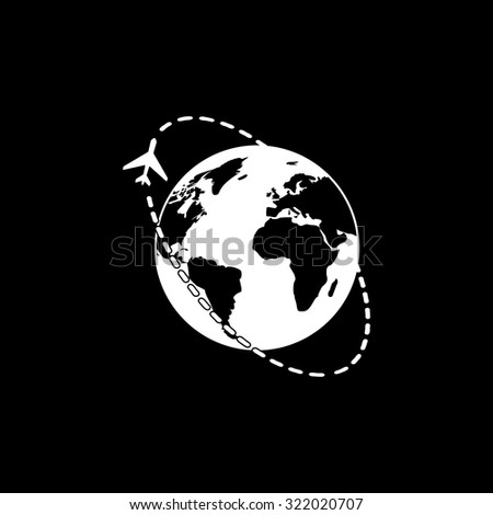 Air travel destination. Simple flat icon. Black and white. Vector illustration - stock vector