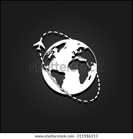 Air travel destination. White flat simple vector icon with shadow on a black background - stock vector