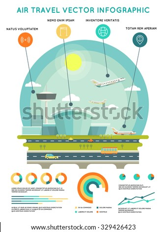 Air travel vector infographic template with airport and aircrafts. Transport and travel, transportation airline, vector illustration - stock vector