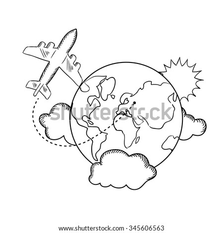 Air travel with flying airplane and earth globe with clouds and sun. Travel concept, sketch style - stock vector