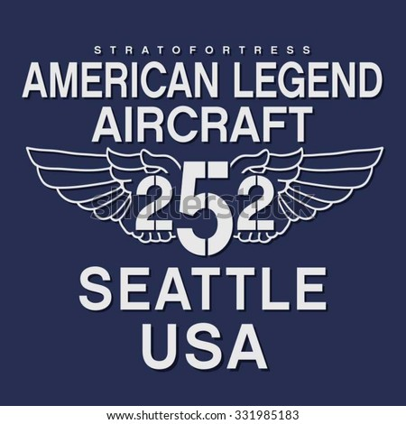 Aircraft army Seattle typography, t-shirt graphics, vectors - stock vector