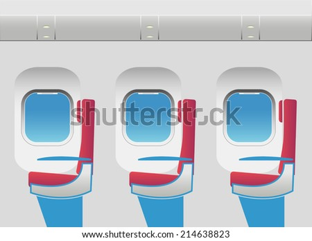 Aircraft cabin with portholes and seats. Vector illustration. EPS10. Opacity. - stock vector