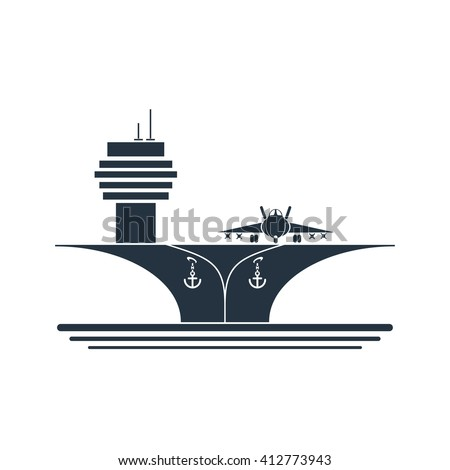 aircraft carrier front - stock vector
