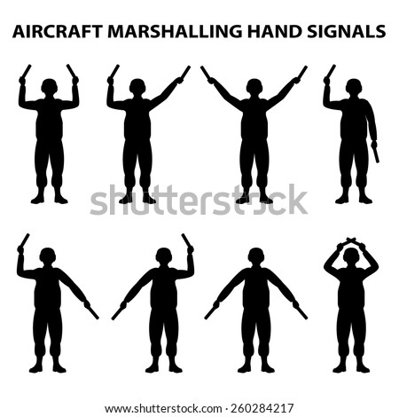 aircraft carrier marshal hand signals - stock vector